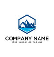 logo design mountains rivers and sun template vector image vector image