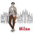 man in milan vector image
