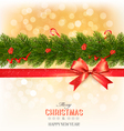 Merry Christmas card with a ribbon and christmas vector image