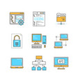 minimal lineart computers and programming iconset vector image vector image