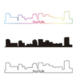Norfolk skyline linear style with rainbow vector image vector image