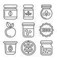 organic farm food icons set on white background vector image vector image