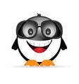 penguin funny with sunglasses vector image vector image