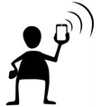 phone signal send silhouette symbol vector image vector image