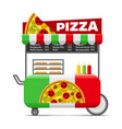 pizza street food cart colorful image vector image vector image