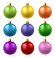 realistic christmas balls colorful glass xmas vector image