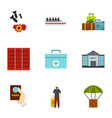 refugee icons set flat style vector image vector image