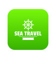 sea travel icon green vector image