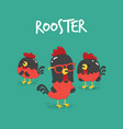 set of funny cartoon rooster vector image vector image