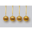 set of gold christmas ball with an ornament vector image vector image