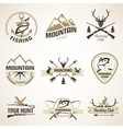 Set of vintage hunting and fishing emblems and vector image vector image