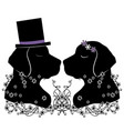 silhouette dogs wedding flourishes vector image vector image