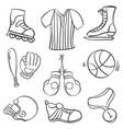 sport equipment doodles vector image vector image