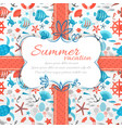 Summer vacation vintage label with ribbon