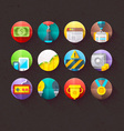 Textured Flat Icons for mobile and web Set 2 vector image
