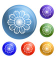 top view calendula icons set vector image
