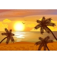Tropical beach sunset poster vector image vector image