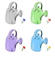 Watering can in different colors set vector image