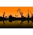 Working cranes in sea port vector image