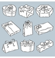 Hand drawn gift boxes set Vintage vector image