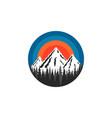 mountain logo round shape snow-capped peaks rocks vector image