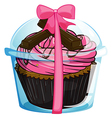 A cupcake with a pink icing vector image vector image