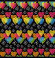 abstract hearts seamless pattern vector image vector image