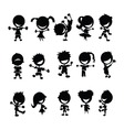 Black kids silhouettes vector | Price: 1 Credit (USD $1)