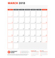 calendar template for 2018 year march business vector image vector image