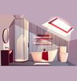 cartoon interior of bathroom in attic vector image vector image