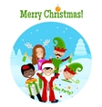 Christmas Postcard With 5 Characters vector image vector image