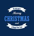 christmas text white ribbon merry christmas and vector image