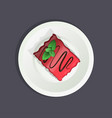 delicious cake with strawberry filling decorated vector image