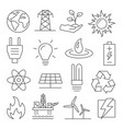 energy line icons set on white background vector image vector image