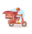 fast delivery boy in a superhero costume vector image