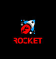 flat rocket logo flying rocket icon with a flame vector image vector image