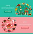 france and japan landmarks horizontal banners vector image vector image