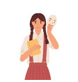 girl putting on social face mask with fake vector image vector image
