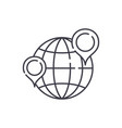 globe with pointers line icon concept globe with vector image vector image