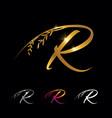 golden letter r monogram initial sign vector image vector image