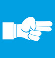 hand showing two fingers icon white vector image vector image