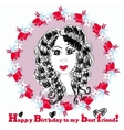 Happy Birthday Card with cute girl vector image vector image