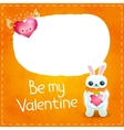 Happy Valentines day card with rabbit and heart vector image vector image