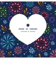 holiday fireworks heart silhouette pattern frame vector image vector image