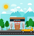 japanese restaurant building and landscape vector image vector image