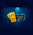 light sign ticket on curtain with spotlight vector image