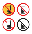 no phone sign cell phone icon set vector image vector image