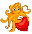 octopus with heart vector image vector image