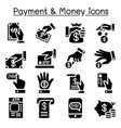 payment money icon set vector image vector image