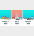 portugal spain germany time to travel set of vector image vector image